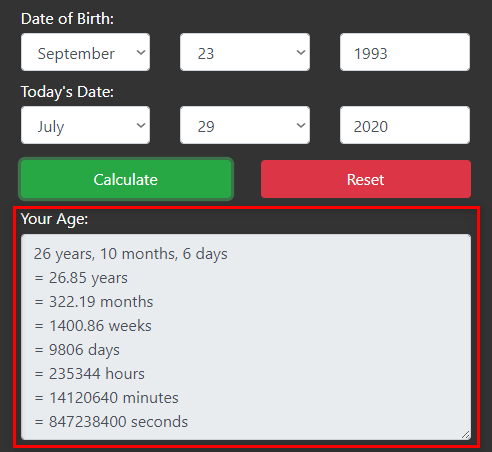 Calculate your Age